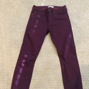 Tory Burch Navy/Burgundy Jeans, Size 26